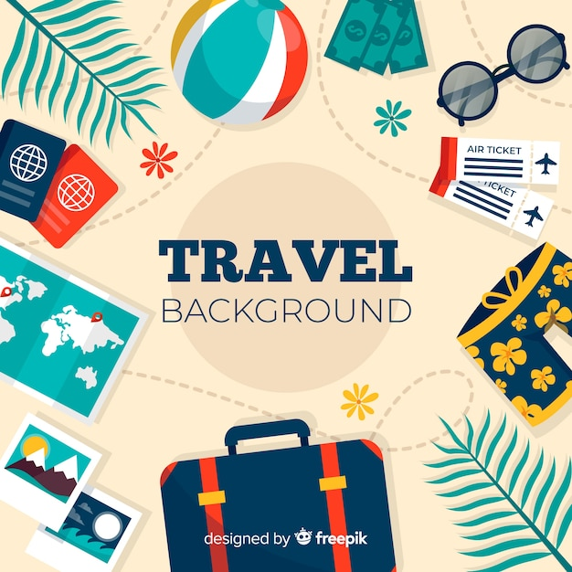 Travel elements background Free Vector