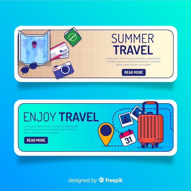 Travel elements banner flat design Free Vector