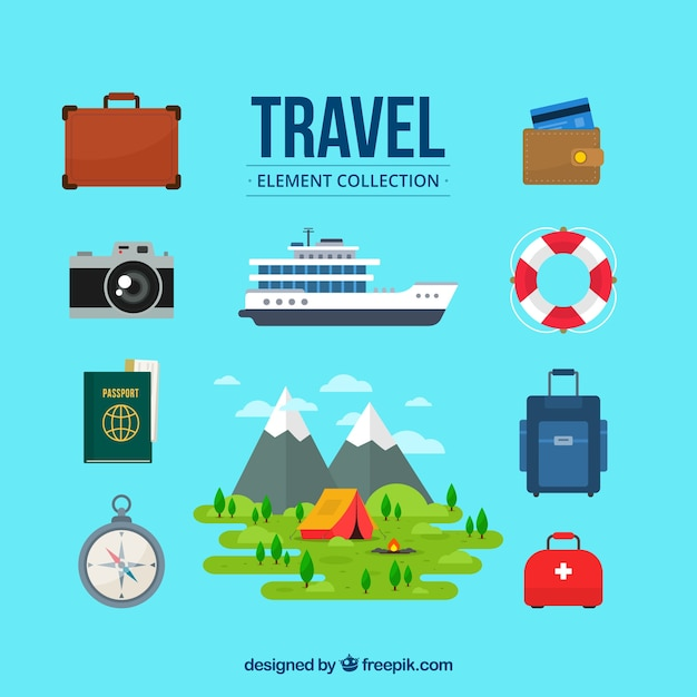 Travel elements collection in flat style Free Vector