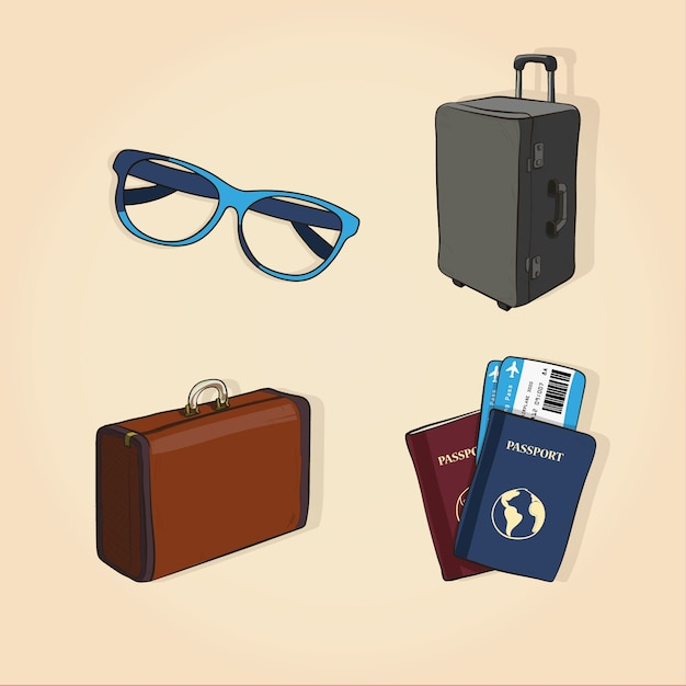 Travel elements collection in hand drawn style Free Vector
