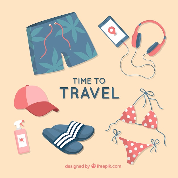 Travel elements collection Free Vector