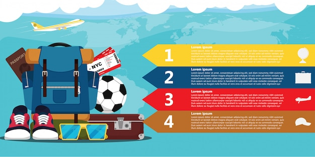 Travel elements infographic template Premium Vector