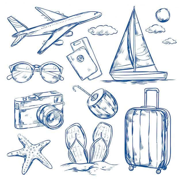Набор эскизов элементов путешествия Бесплатные векторы