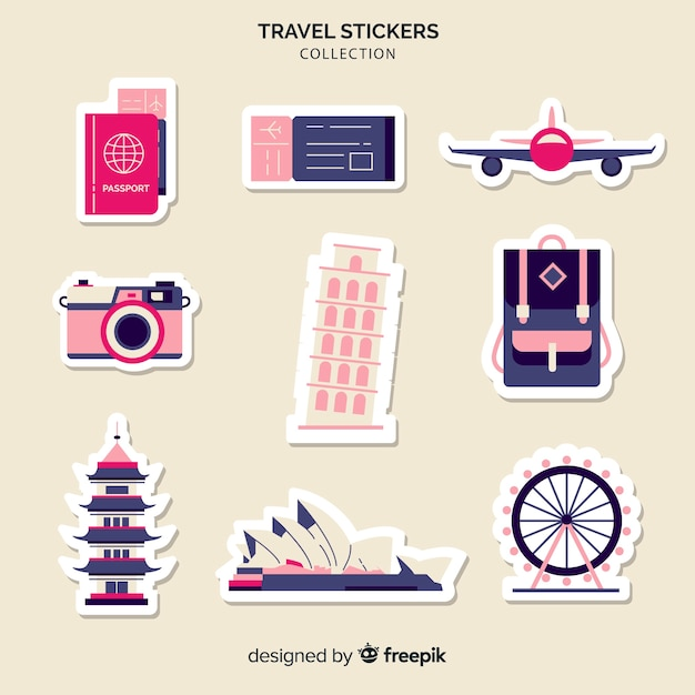 Travel elements stickers collection Free Vector
