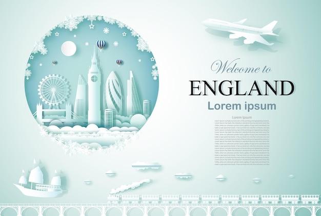 Путешествие по англии памятник древней и замковой архитектуры с новым годом Premium векторы