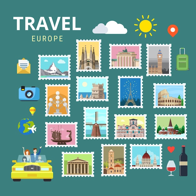 여행 유럽 영국 이탈리아 프랑스 오스트리아 스위스 우크라이나 무료 벡터