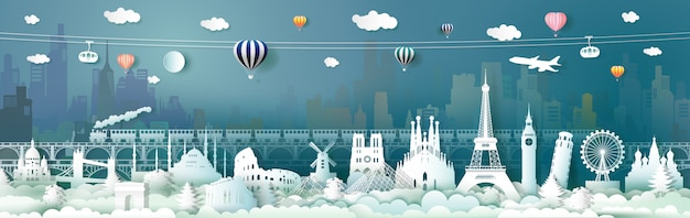Travel europe landmarks of world with cable carand train Premium Vector