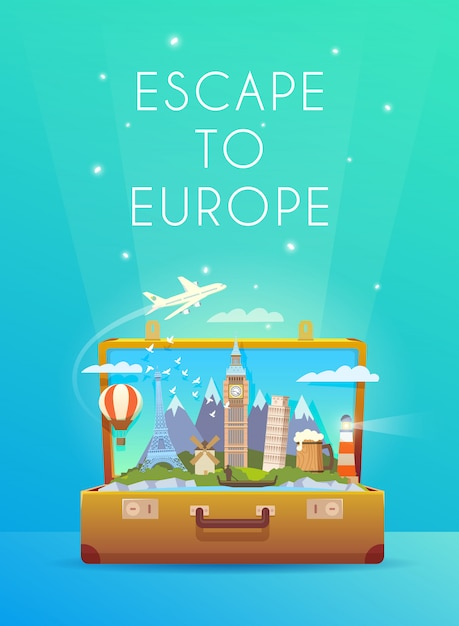 Travel to europe. road trip. tourism. open suitcase with landmarks. modern flat design. Premium Vector