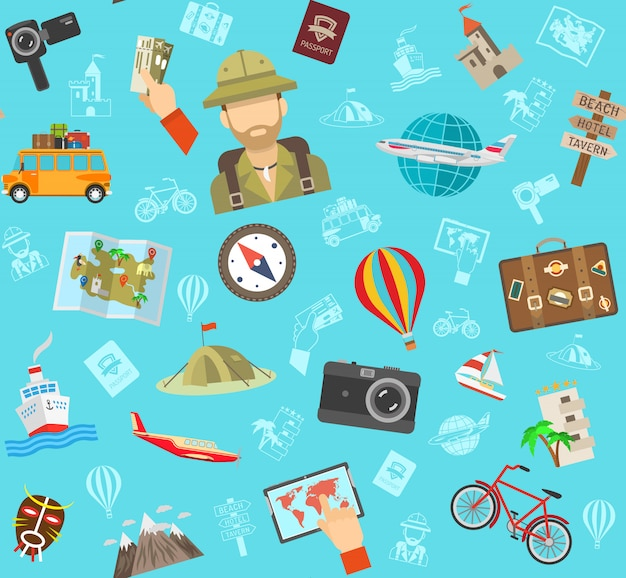 Travel flat color pattern Free Vector