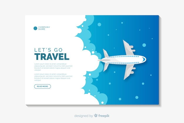 Travel flat design landing page template Free Vector