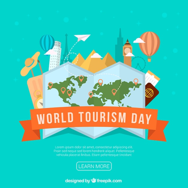 Travel flat elements, world tourism day