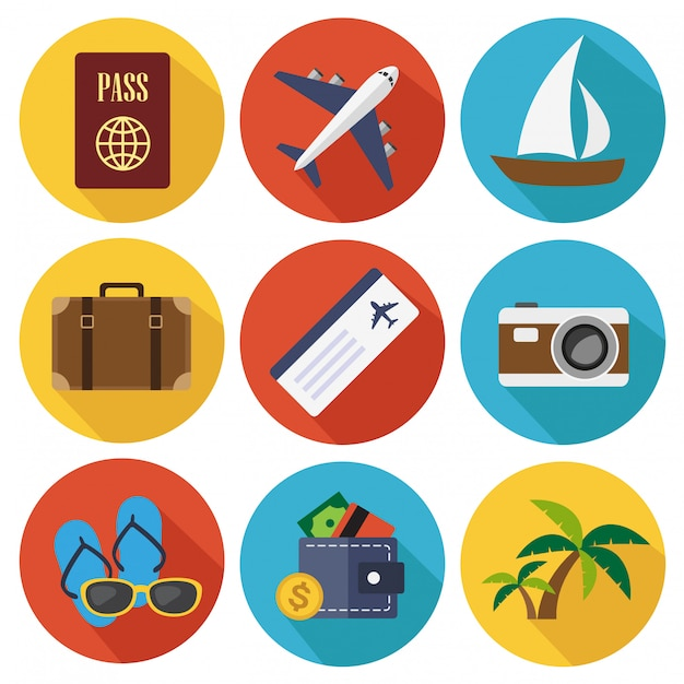 Travel flat icons in set collection Premium Vector