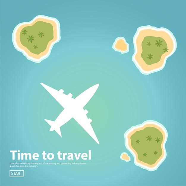 Путешествие полет на пассажирском самолете. отдых на тропическом острове. Premium векторы
