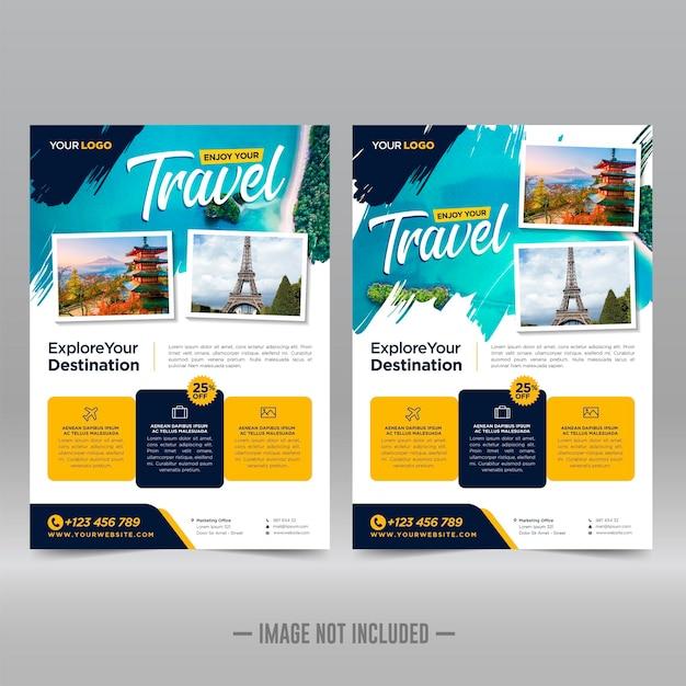 Travel flyer design template Premium Vector