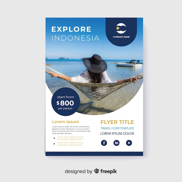 Travel flyer girl with hat enjoying holidays Free Vector