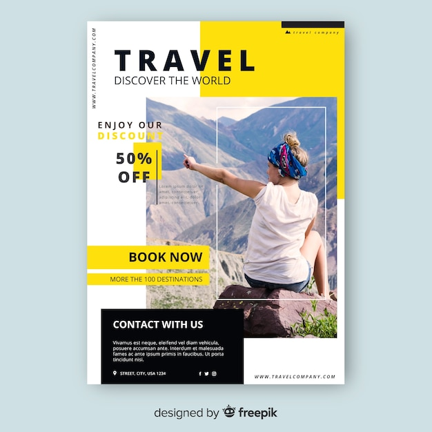 Travel flyer template with discount Free Vector
