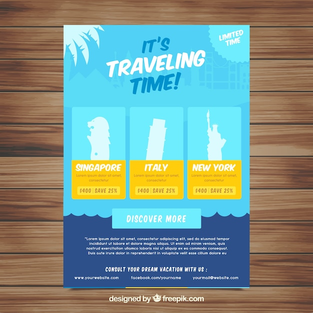 travel flyer template with flat design vector free download