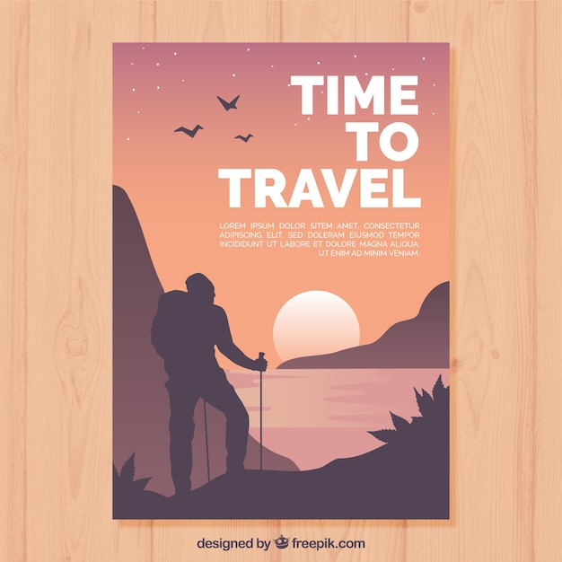 Travel flyer template with flat design Free Vector