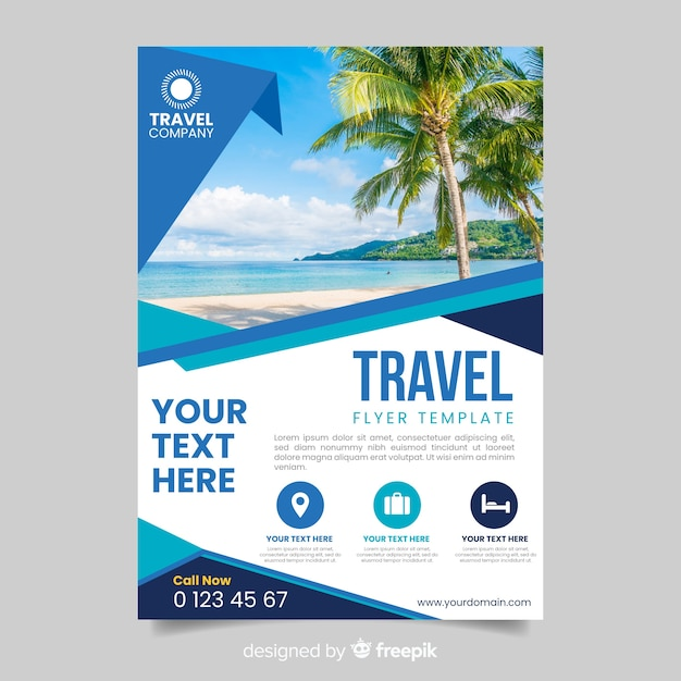 Travel flyer template with image Free Vector