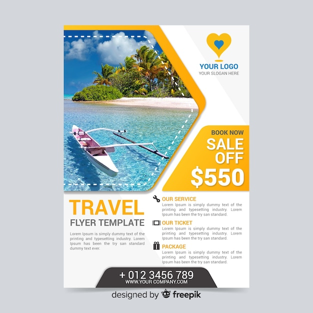 Travel flyer template with kayak Free Vector