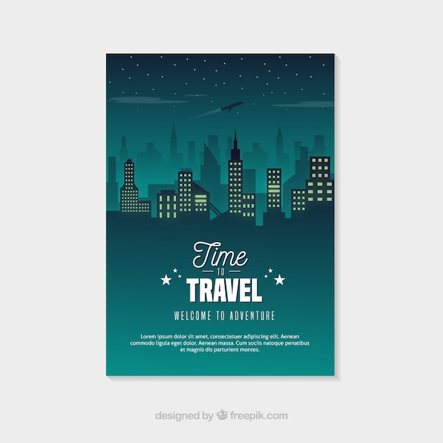 Travel flyer template with night city Free Vector