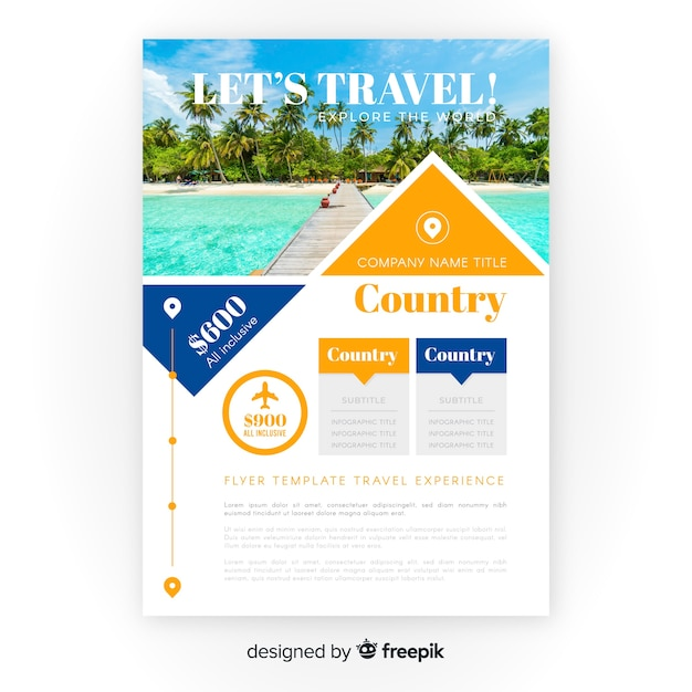 Travel flyer template with photo Vector   Free Download