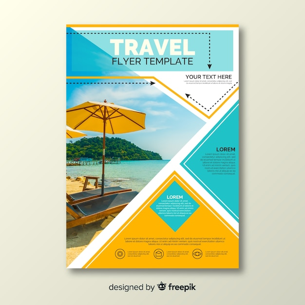Travel flyer template with photo Vector | Free Download