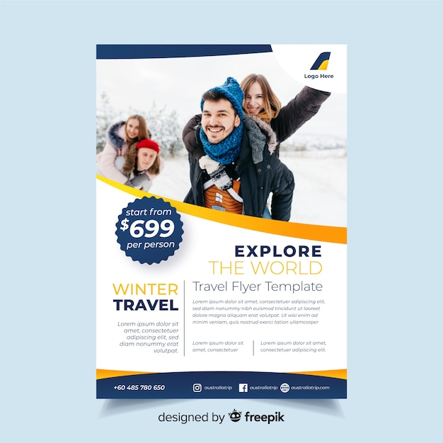 Travel flyer template with photo Free Vector