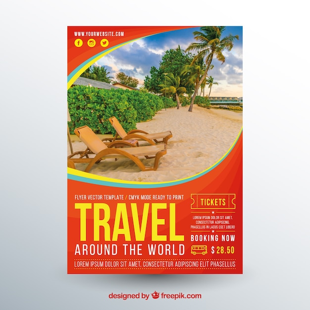 Travel flyer template with photography Free Vector