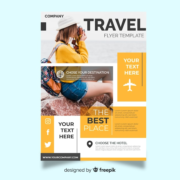 Travel flyer template with traveler Free Vector