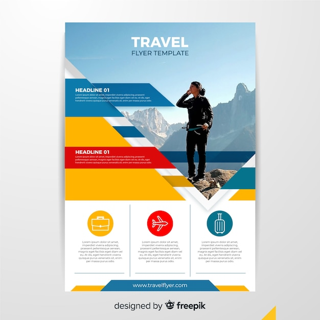 Travel flyer template with woman Free Vector