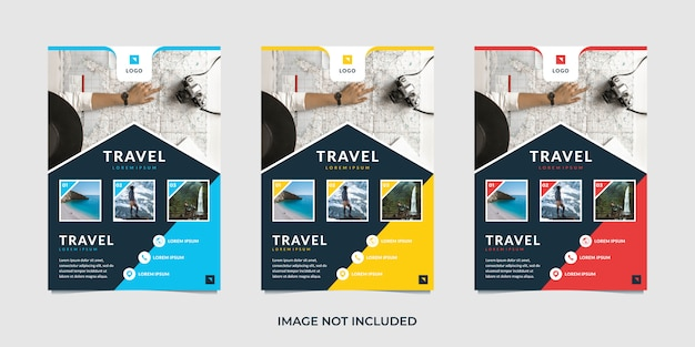 Travel flyer template Premium Vector