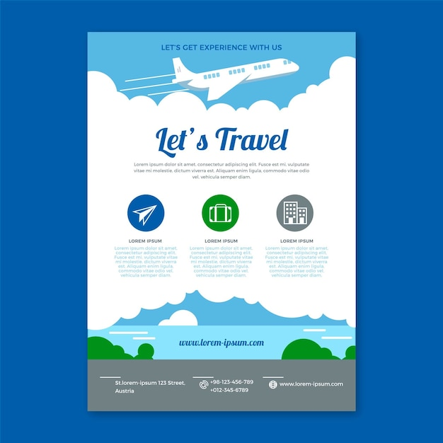 Travel flyer transports Free Vector