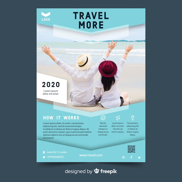 Travel flyer vibrant template with photo Free Vector