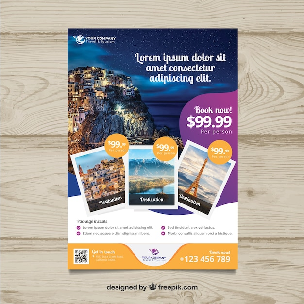 Travel flyer with photo of destinations Free Vector