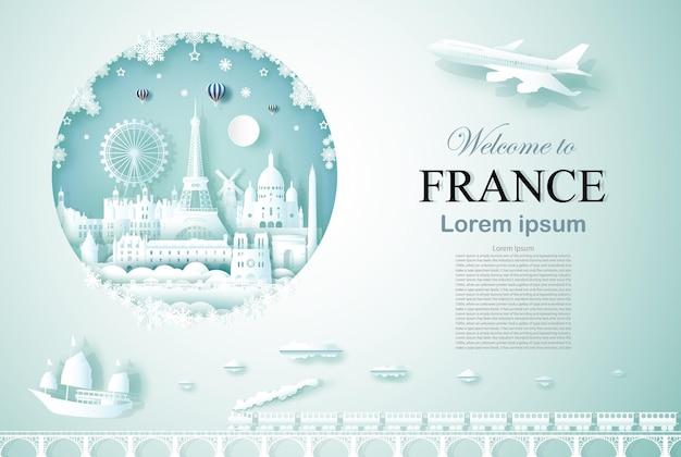Путешествие во францию памятник древней и замковой архитектуры с новым годом Premium векторы