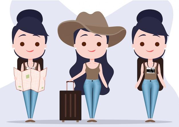 Travel girl character Premium Vector