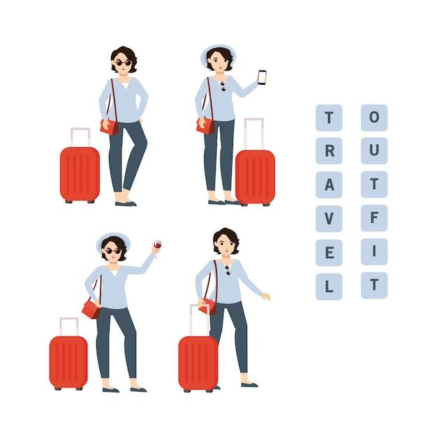 ささやかなスーツケースと衣装を持つ旅行少女 Premiumベクター