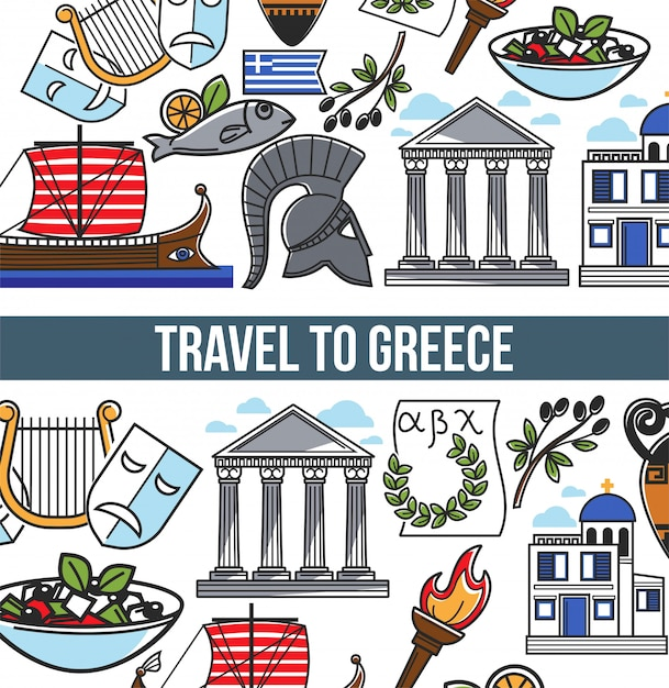 Travel to greece vector poster of greek symbols Premium Vector