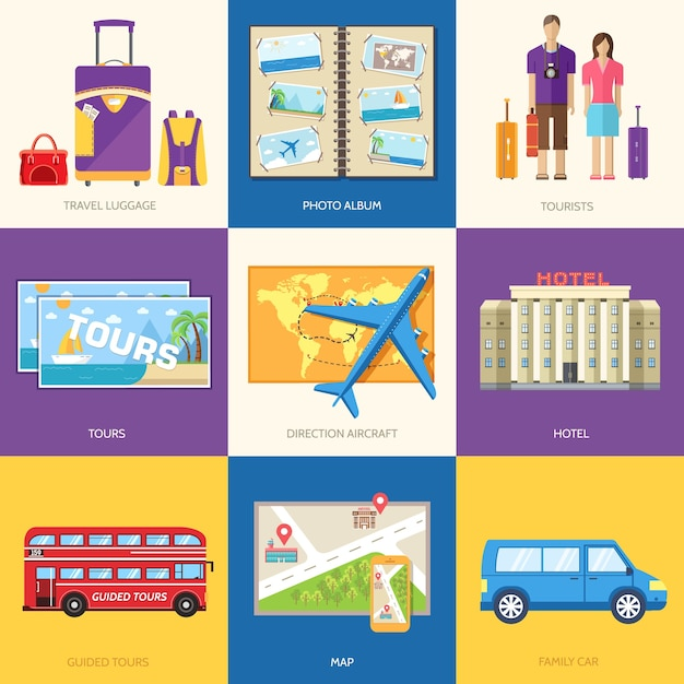 Travel guide infographic with vacation tour locations and items Premium Vector