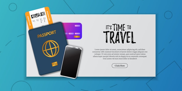 Travel holiday document illustration. boarding pass airplane ticket, passport immigration, credit cad, phone, top view. vacation tourist advertising Premium Vector