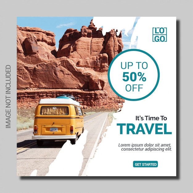 Travel holiday social media post square banner template Premium Vector