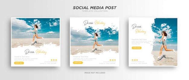 Travel holiday vacation social media post web banner Premium Vector