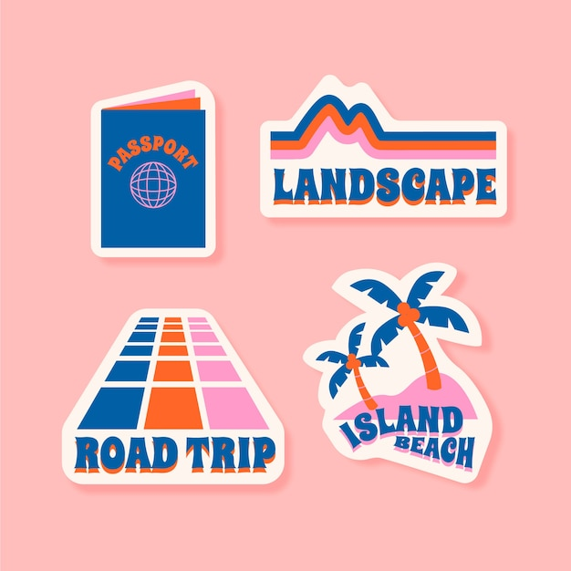 Travel/holidays sticker set in 70s style Free Vector