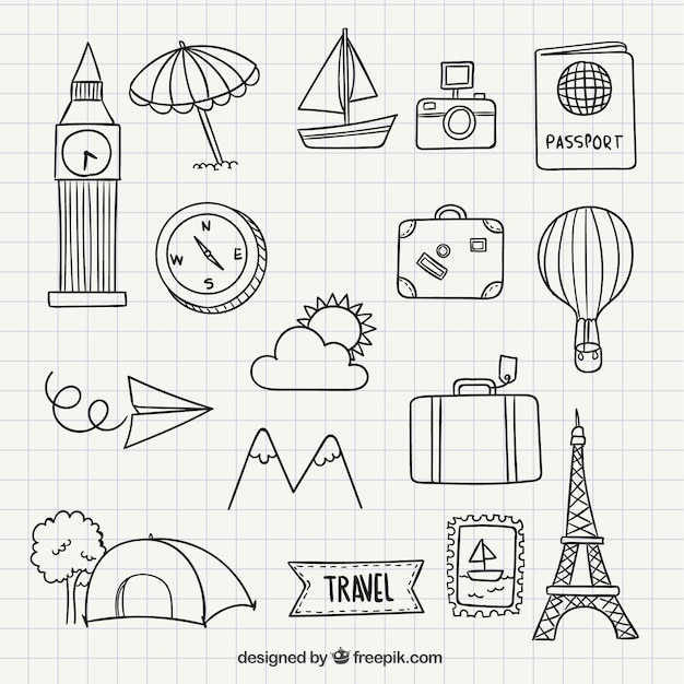 Travel icon doodles Vector | Free Download