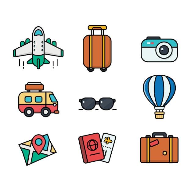 Значок путешествия установлен. плоский стиль использования для интернета и мобильных устройств. большая коллекция Premium векторы