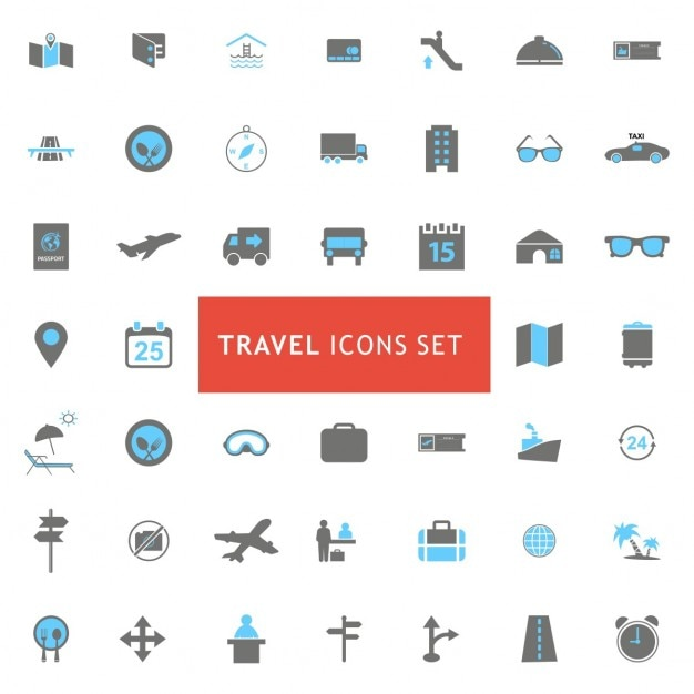 Travel icons collection Free Vector