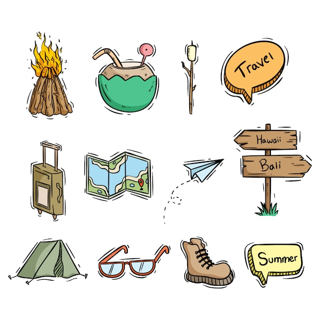 Travel icons or elements collection with hand drawn style Premium Vector