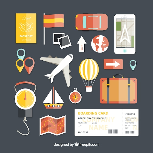 Travel icons in flat design Free Vector