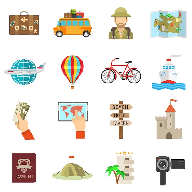 Travel icons flat Free Vector